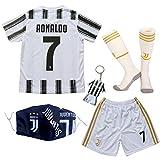 GamesDur 2020/2021 Neu Juve #7 Ronaldo Heim Weiß Kinder Fußballtrikot-Hose Set Jugendgrößen...