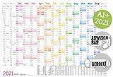 Abwischbarer Wandkalender 2021 groß [Rainbow] 89 cm x 63 cm (größer als A1), gerollt | 15 Monate:...