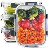 Zoë&Mii Lebensmittelbehälter aus Glas 4-er Set 880 ml - Hochwertige und luftdichte Glasschalen...