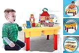Modbrix Bausteine Spieltisch inkl. großen Bausteinen und 2 integrierten Bauplatte mit Steinebox