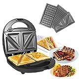 OZAVO Sandwichmaker, Sandwichtoaster, 3 in 1 Paninitoaster, Waffeleisen, Tisch-Grill, 3 abnehmbare...