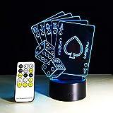 3D LED USB Tischlampe Magier Dekoration TEXAS HOLD EM Wrfel Poker Spades Spielkarte 7 Farben ndern...