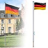 LZQ Aluminium Fahnenmast 6,50m inkl Deutschlandfahne Flaggenmast Seilzug und Bodenhülse, Mast...