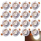 20x LED Einbaustrahler Einbau-Spots Schwenkbar 3W Leuchtmittel Decken-Leuchte Einbaulampe Warmweiß...