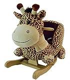 Bieco 74000500 - Plüsch Schaukeltier Giraffe, braun, Kinder Schaukelstuhl, Sicherheitsgurt und...