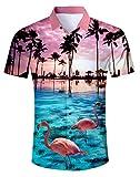 AIDEAONE Herren Flamingo Hawaiihemd Kurzarm Urlaubs Hemd Mode Plus Größe