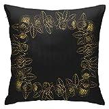 pingshang Doodle Rose Flowers Square Goldener Kranz Blumen Kissenbezug, doppelseitiger Druck,...