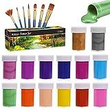 Gifort Acrylfarben Set, 14 Farb-Pigmenten je 20 ml, Acrylfarben auf Wasserbasis für Steine, Holz,...