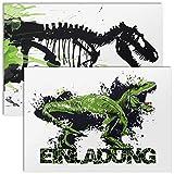 12x Einladungskarten für Kindergeburtstag mit Umschlägen | Dino T-Rex | Dinosaurier Einladungen...