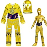 GJBXP Halloween Star Wars Kostüme Kinder Jungen Golden Robot C-3PO Cosplay Overall Maske Purim...