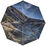 Automatischer Regenschirm Mountain Lake Sky Landschaftsreise Praktisch Winddicht Wasserdicht...
