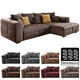 Cavadore Ecksofa Mavericco/Polster Eck-Couch mit Kissen in Antik-Leder-Optik und...