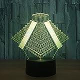 Yujzpl 3D-Illusionslampe LED-Nachtlicht, USB-betrieben 7 Farben blinkend Touch-Schalter Schlafzimmer...