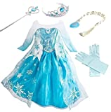 YOGLY Mädchen Prinzessin Elsa Kleid Kostüm Eisprinzessin Set aus Diadem, Handschuhe, Zauberstab,...