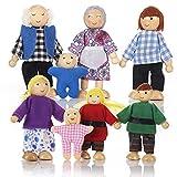 Puppenhaus Puppen mit 8 Figuren Puppenfamilie für Puppenhaus Biegepuppen mit beweglichen Gliedern...