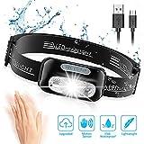 Cocoda Stirnlampe mit 4 Helligkeiten, Ultrahelle Wiederaufladbare LED Kopflampe, 160 Lumen,...