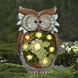 La Jole Muse Gartendeko Eule Solar Leuchte, aus Kunstharz Wetterfest, Weihnachten Geschenk Eule,...