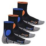 CFLEX Damen und Herren Running Funktions-Socken (4 Paar) Laufsocken - Schwarz-Mix 43-46