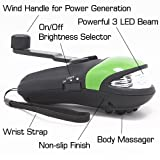 NEW Re-Wind Wind-Up LED Torch Flashlight & Vibrating Massager Head with Non-Slip Finish and Wrist...