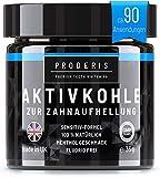 Proderis Kokosnuss Aktivkohle Pulver für weiße Zähne mit frischem Menthol Vegan Activated...