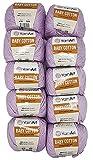 10 x 50g Strickwolle YarnArt Baby Cotton mit 50% Baumwolle, 500 Gramm Wolle einfarbig (flieder 416)