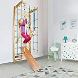 CCLIFE Sprossenwand Turnwand Gym Klettergerüst Holz Sportgerät Kletterwand mit Stange Fitness...