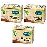 3 x Viropa - Grüner Tee und Ginseng - 15 Filter | Packung mit 3 x 15 Filtern | Tee, Tee und Teesieb...
