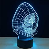 3D Nachtlicht Schädel Led Licht Nachtlampe Schlafzimmer Multicolor Farbwechsel Leuchtstofflampe 7...