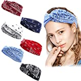 6 Stücke Stirnband Damen - Paisley Haartuch Kopftuch für Frauen, Elastisches Baumwolle Bandana...