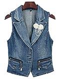 LifeShe Damen-Jeansjacke, ärmellos, lässig, mit Perlen, Cropped - Blau - Klein
