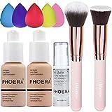 PHOERA Foundation (Nude #102 +Buff Beige #104) & Makeup Primer,Concealer Cover Flüssigmatt Full...