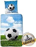Aminata Kids - Biber Bettwäsche Fussball 135-x-200 cm Baumwolle Jungen, Jungs & Jugendliche -...