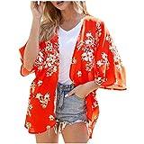 Geilisungren Kimono Damen Strand Chiffon Cardigan Blumendruck Kurz Bluse Sommer Bikini Cover Up...