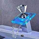 WMZQW Badezimmer LED Wasserfall Wasserhahn, Glaswaschbecken Mischbatterie Temperatursensor...