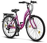 Licorne Bike Stella (Rosa) 26 Zoll Damenfahrrad, CTB ab 145 cm, Fahrrad-Licht, Shimano 21...