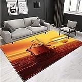 DRTWE Teppich,Wohnzimmer Segelschiff Teppich Teppich Anti Skid Shaggy Teppiche Läufer Flur Teppiche...