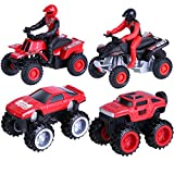 Toymus 4 Pack Aufziehautos Spielzeugautos Set, Legierungsspielzeug Auto, Motorrad, Auto Spielzeug,...