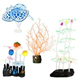 Welltop Aquarium Dekorationen 4er-Pack Glowing Effect Aquarium Dekor, mit Harzbasis, Wasserpflanze,...