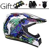 GZMUS Motocrosshelm Motorrad Fullface MTB Helm Mit Schutzbrille Handschuhe Maske Off Road Damen...