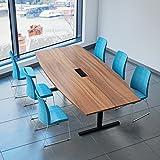 Easy Konferenztisch Bootsform 240x120 cm Nussbaum mit Elektrifizierung Besprechungstisch Tisch,...