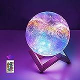 12cm LED Mond Lampe mit Fernbedienung,OxyLED Sternenhimmel Dekoleuchte 3D Mond Kunst LED RGB...
