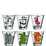 Leonardo Bambini Trink-Glas, Kinder-Becher aus Glas mit Tier-Motiv, spülmaschinengeeignete...
