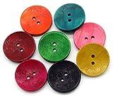 Sadingo Holzknöpfe 30mm, Deko Knöpfe, Bunte Knöpfe Rot Grün Gelb Blau Pink - Große...