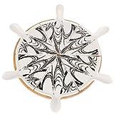Angoily Porzellan Geteilte Snackgerichte Porzellan Servierplatte mit Griffen Und Bambus Holztablett...