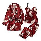 3-teiliges Set aus Satinpyjamas für Damen Dessous Erotik Dessous Sexy Orientalischer Kimonodruck...