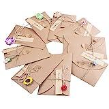 ZeWoo Set von 9 Grukarte, Retro Kraftpapier-Leere Umschlge Ewiges Leben Getrocknete Blumen Verzierte...
