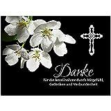Trauer Danksagungskarten mit Umschlag | Motiv: Orchidee 3, 15 Stück | Dankeskarten DIN A6 Set |...