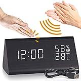 DOXHAUS Wecker Digital LED Wecker Holz Uhr, 3 Helligkeit 3 Alarm Einstellung USB...