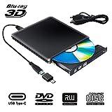 Externe Blu Ray 3D DVD Laufwerk USB 3.0 USB Type C Externes Blueray CD DVD RW Rom Tragbar Brenner...