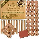 Teneola 46 Stck Bio Mottenschutz aus Zedernholz Ringe & Stäbe Mottenschutz für Kleiderschrank...